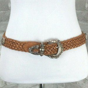 Fossil Belt Small Brown Woven Leather Silver Conch